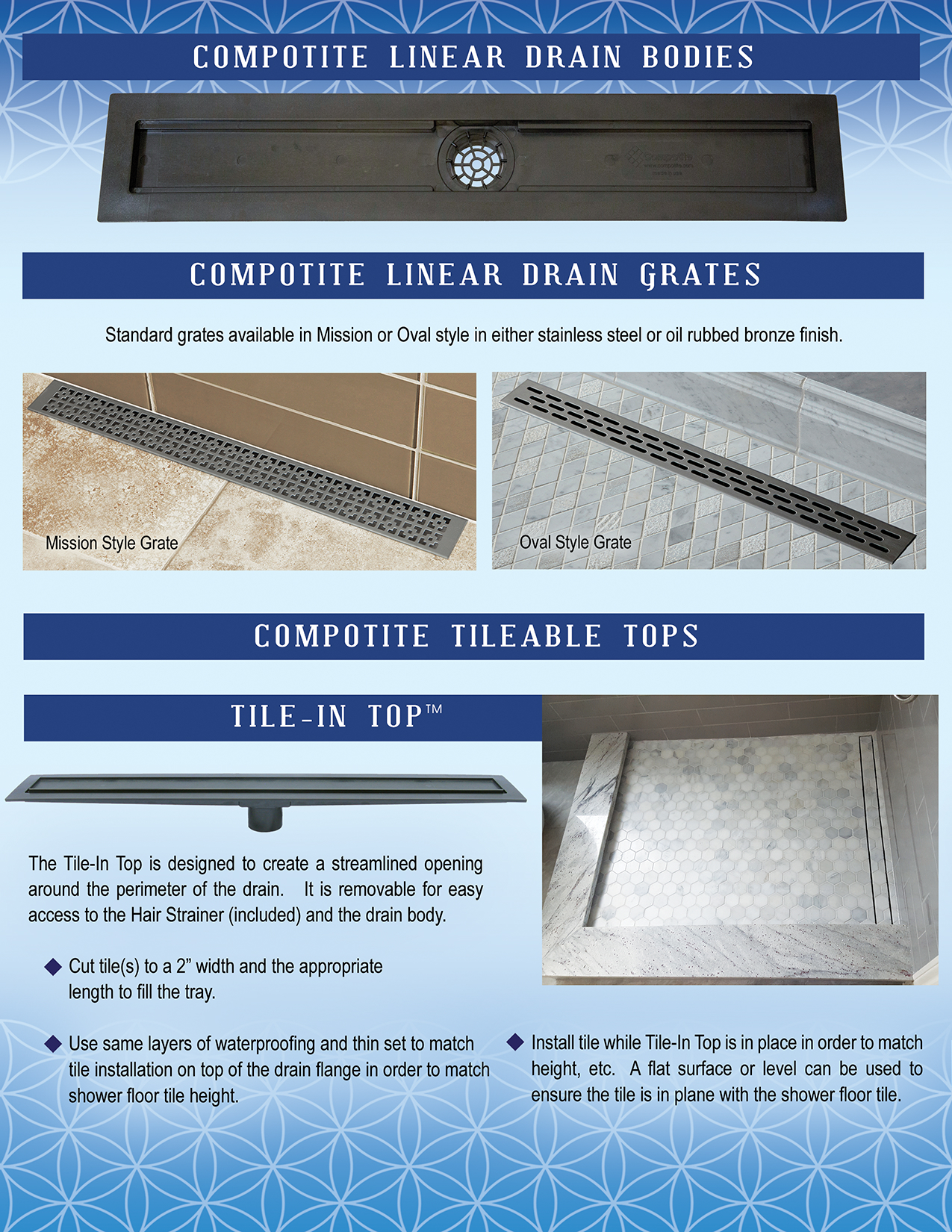 Compotite Linear Drains- ABS Plastic